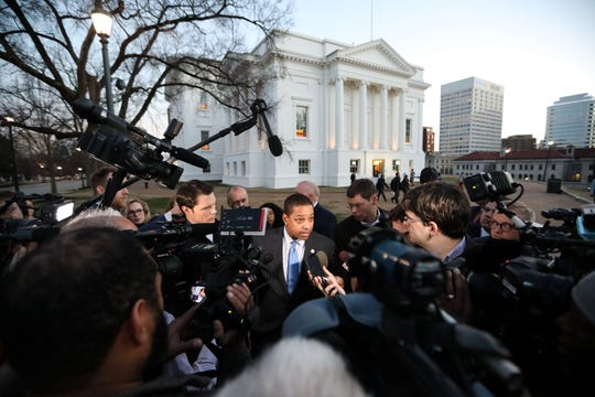 Virginia Lieutenant Governor Justin Fairfax addresses the media about a sexual assualt allegation from 2004 outside of the capital building in dowtown Richmond, February 4, 2019. -