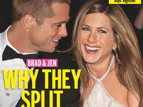 """Aniston and Pitt announced they were separating in January 2005, launching a tabloid frenzy. Within a few months, the world would see his chemistry with his """"Mr. and Mrs. Smith"""" co-star Angelina Jolie onscreen and those two would take their relationship public."""