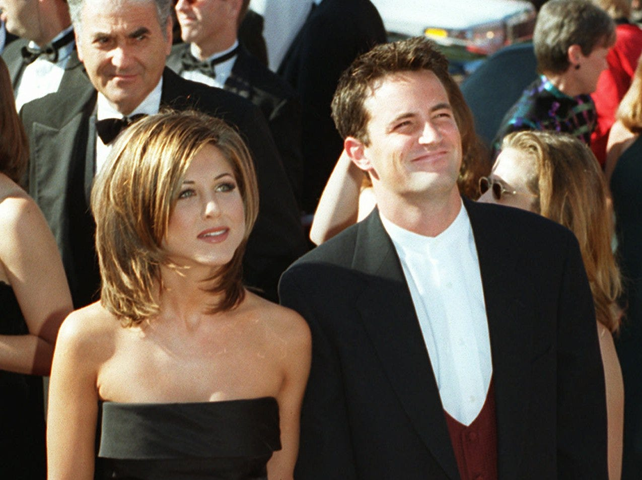 """Just before """"Friends"""" began its second season in September 1995, Aniston and co-star Matthew Perry attended the Emmys together.  The show earned several nominations for its freshman season, including  supporting-acting nods for Lisa Kudrow and David Schwimmer."""