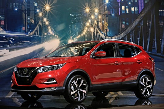 The 2020 Nissan Rogue Sport is unveiled at the Chicago Auto Show, Feb. 07, 2019. The compact SUV receives a fresh appearance, including LED signature daytime running lights and standard fog lights. Apple CarPlay and Android Auto connectivity are now standard.