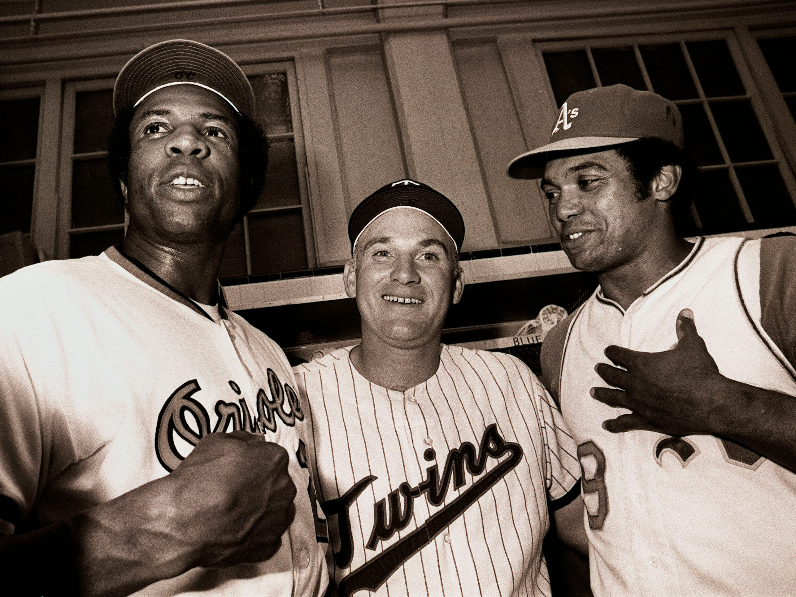 American League All-Stars, from left, Orioles' Frank Robinson, Twins' Harmon Killebrew and Athletics' Reggie Jackson in 1971.