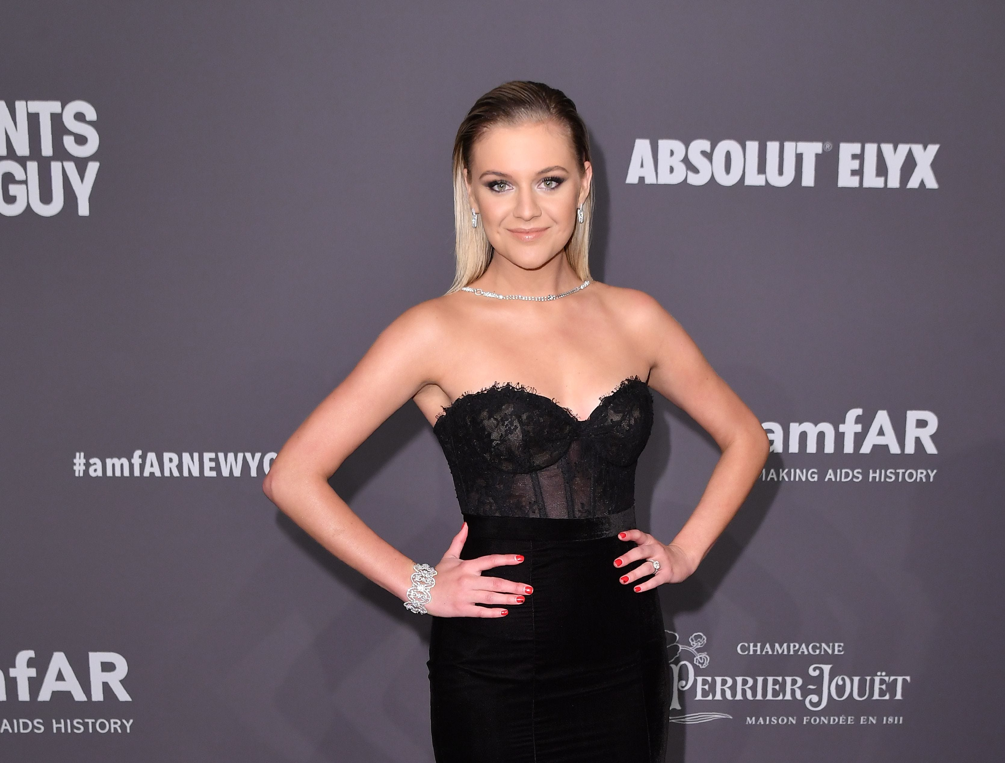 US singer/songwriter Kelsea Ballerini arrives at The amfAR Gala New York, the Foundations 21st annual benefit for AIDS research during New York Fashion Week at Cipriani Wall Street on February 6, 2019 in New York. (Photo by ANGELA WEISS / AFP)ANGELA WEISS/AFP/Getty Images ORG XMIT: The Found ORIG FILE ID: AFP_1D466D