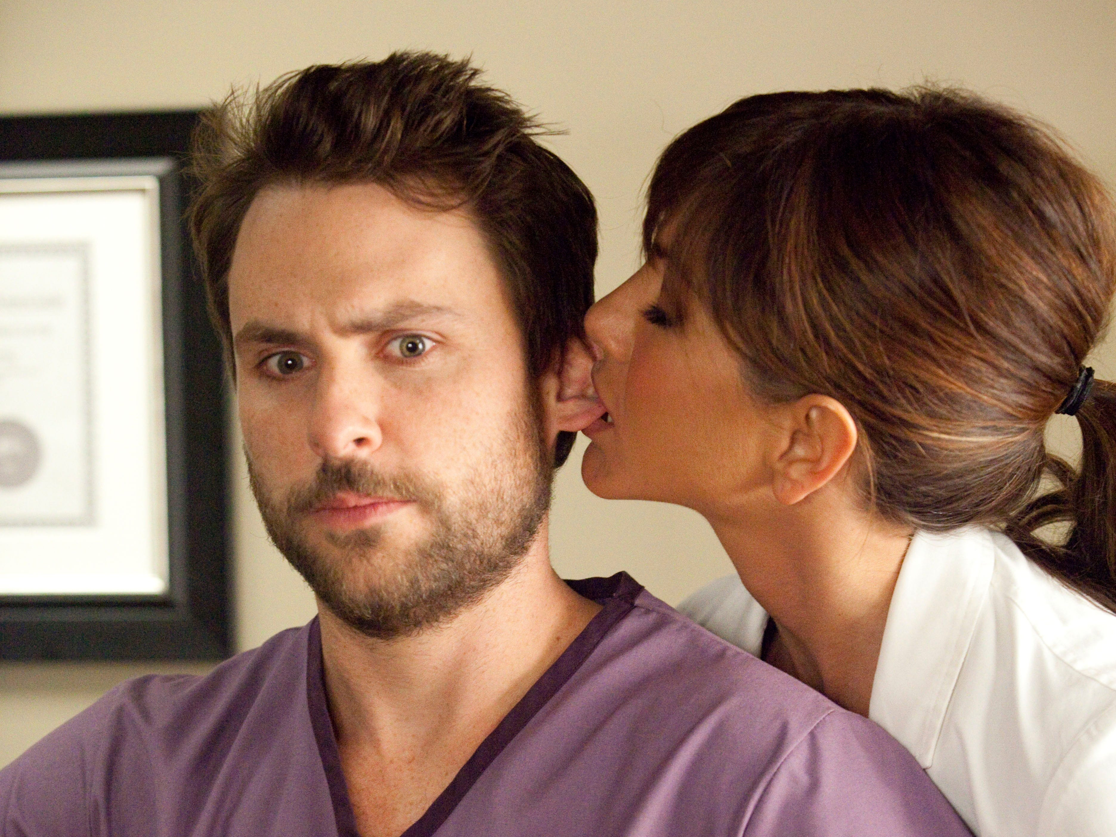 """In 2001, Aniston played a dentist with a penchant for sexual harassment in """"Horrible Bosses."""" Here, she acts inappropriately with her assistant, played by Charlie Day."""
