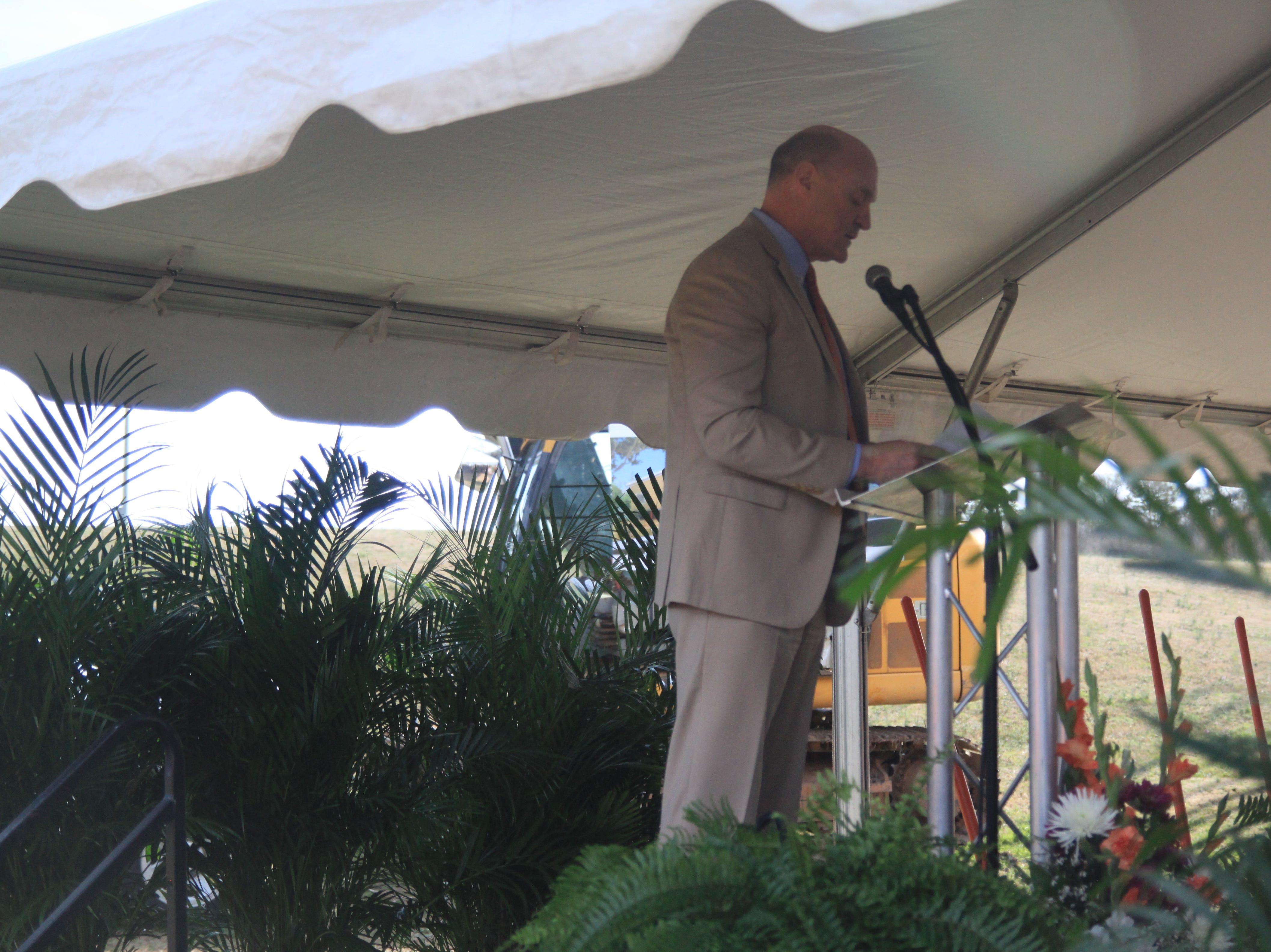President Jim Clements speaks at the groundbreaking for the Child Development Center.