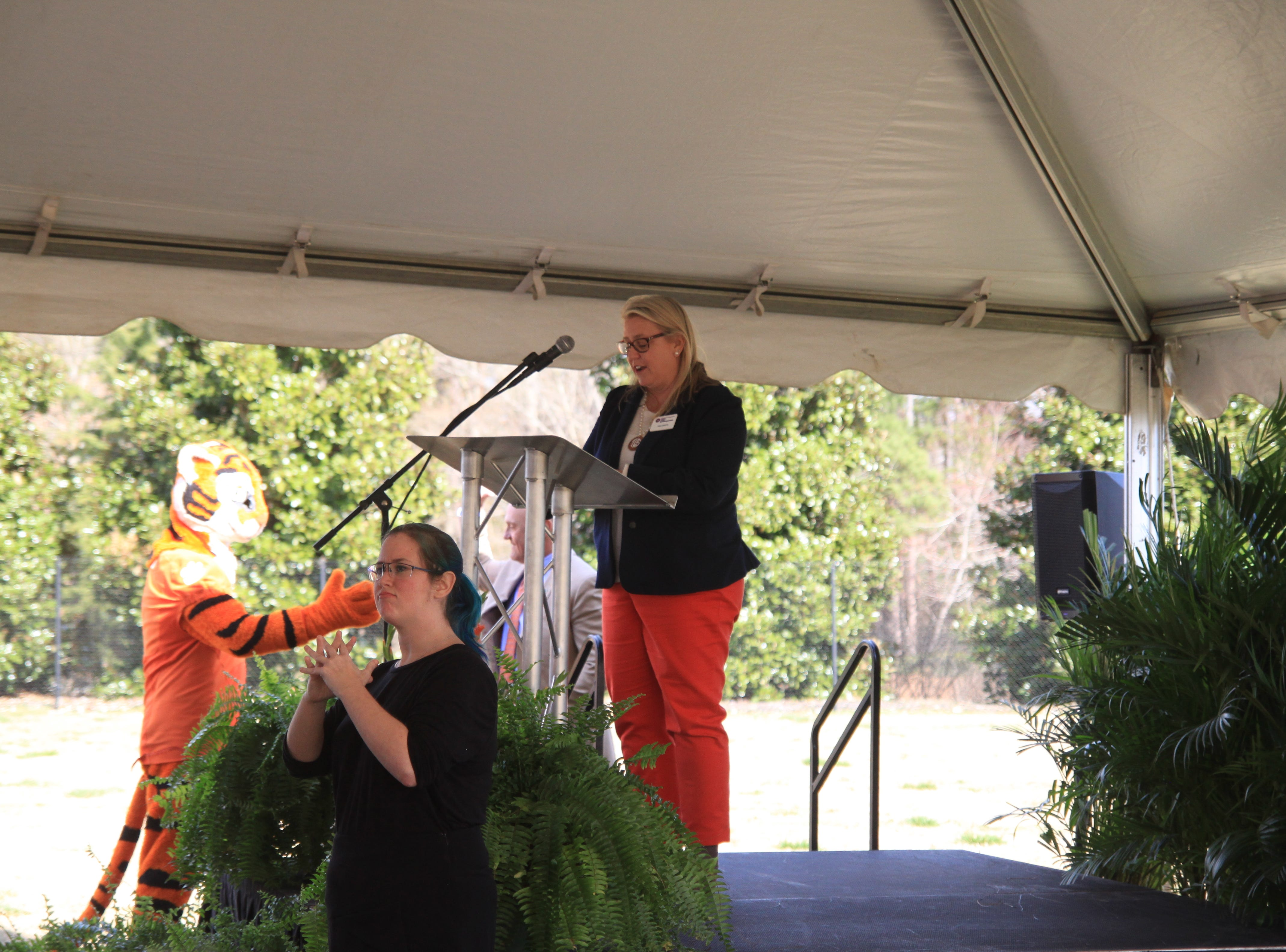 Tina White, chair of the President's Commission on Women, speaks at the groundbreaking for the Child Development Center.