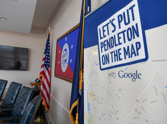 A slogan and map is inside the Town of Pendleton Municipal Complex, where town council deal with the growth of the historical town bordering a growing Clemson University. The town could see an estimated 25 percent growth with added infrastructure and housing developments inside the town limits.