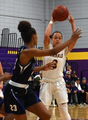 LSU junior guard Brittany Hall (3) looks for an open teammate against Our Lady of the Lake 89-87 Thursday, Feb. 7, 2019 at the Fort located on the LSUA campus.
