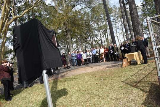 A historical marker celebrating the contributions of LSU's first president, William Tecumseh Sherman was unveiled by Retired Gen. Jasper Welch and F. King Alexander, president of Louisiana State University, Thursday, Feb. 7, 2019. The marker is located on Highway 71 across from the Alexandria Veterans Affairs Medical Center in Pineville next to the headquarters of the Kisatchie National Forest on the site where the original LSU used to be. It was known as the Louisiana Seminary of Learning in Pineville and was destroyed by fire. Ruins of the old buildings still remain. The ceremony was hosted by the Historical Association of Central Louisiana.