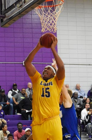 LSUA's William Claiborne (15) gets a rebound against Our Lady of the Lake Thursday, Feb. 7, 2019 at the Fort.
