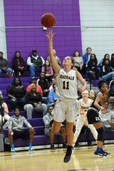 LSUA's Courtney Dawsey (11) shoots a floater in the Generals' win over Our Lady of the Lake 89-87 Thursday, Feb. 7, 2019 at the Fort. The LSUA women's basketball team made the NAIA Tournament for the first time in program history this season.