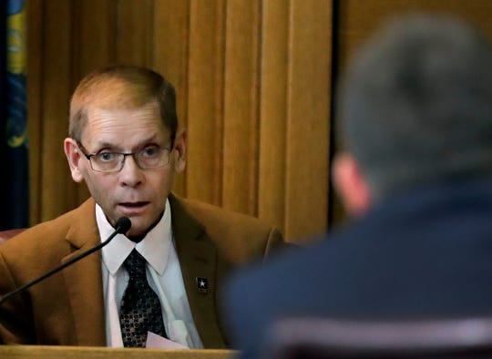 Fox Crossing Municipal Judge Len Kachinsky testifies during a Wisconsin Judicial Commission disciplinary hearing on Friday at the Winnebago County Courthouse in Oshkosh.