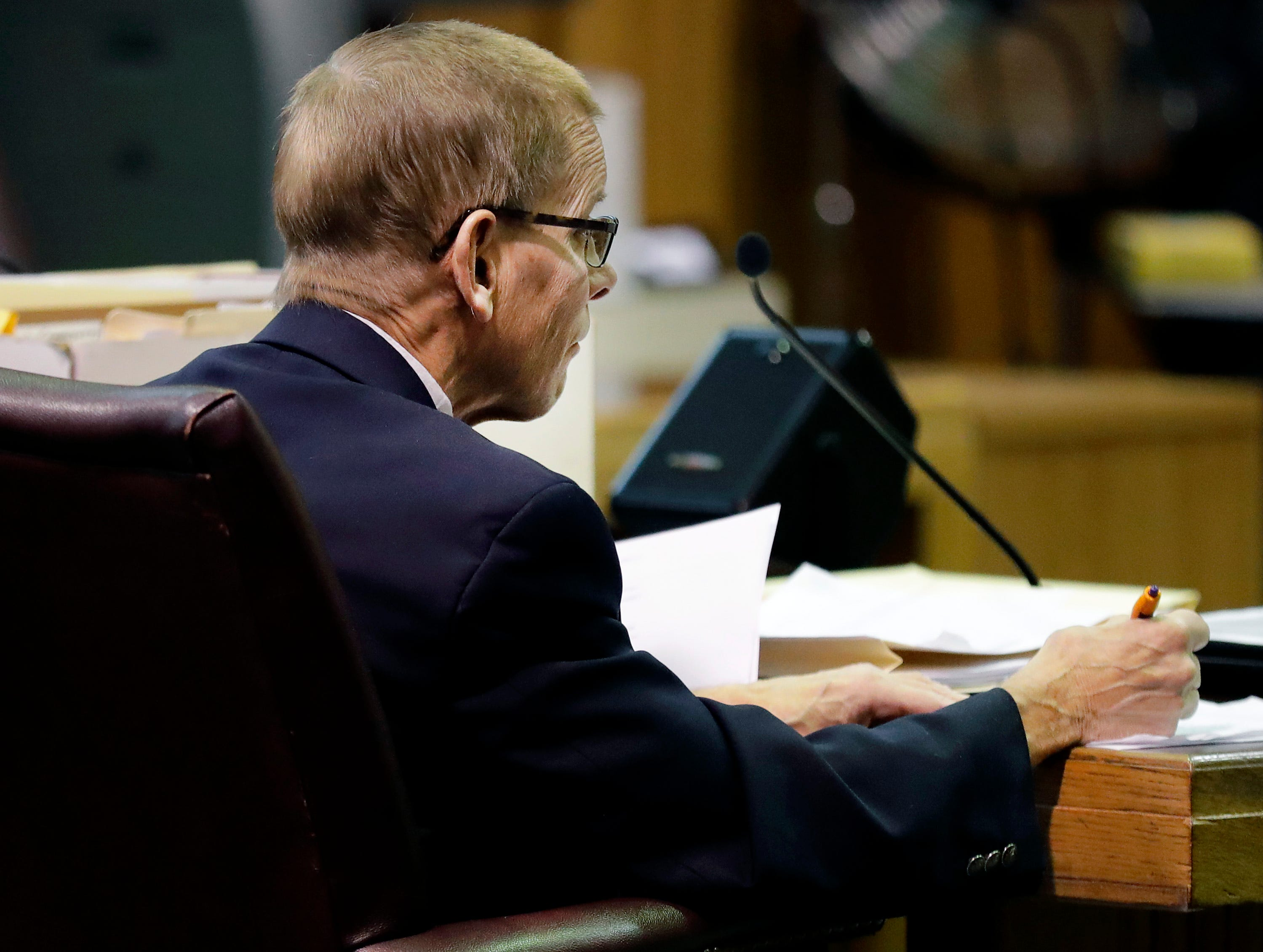 Fox Crossing Municipal Judge Len Kachinsky during a Judicial Commission disciplinary hearing on Thursday, February 7, 2019, at the Winnebago County Courthouse in Oshkosh, Wis.