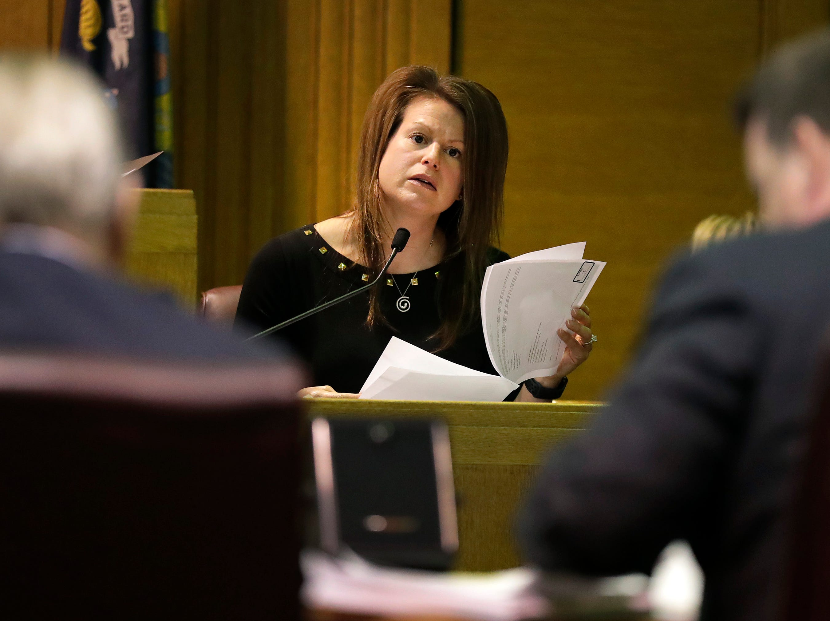 Witness Mandy Bartelt, Municipal Court Clerk, Village of Fox Crossing, gives testimony during a Judicial Commission disciplinary hearing for Fox Crossing Municipal Judge Len Kachinsky on Thursday, February 7, 2019, at the Winnebago County Courthouse in Oshkosh, Wis.