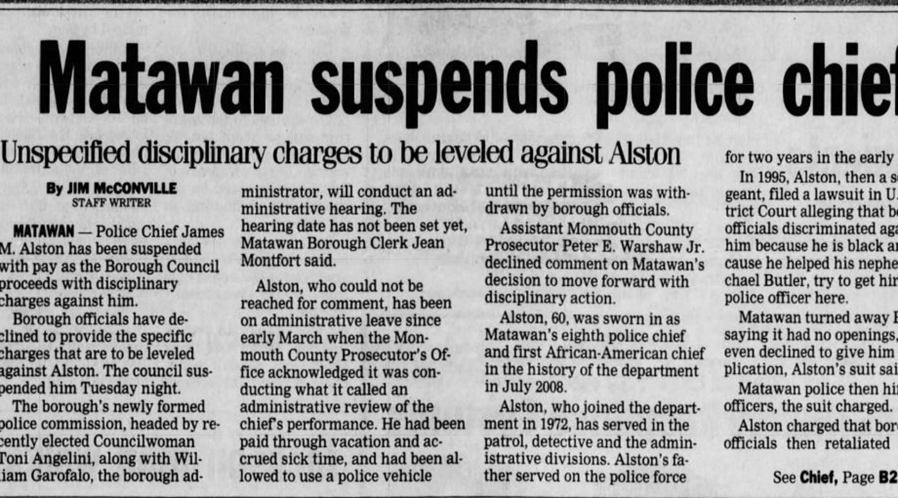 Matawan discrimination lawsuits: Alston's demotion