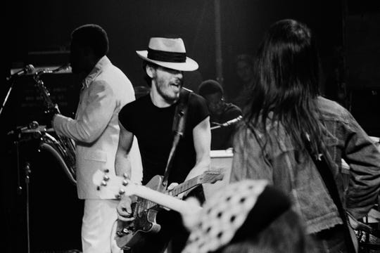 Bruce Springsteen and the E Street Band, May 9, 1974 at the Harvard Square Theatre in Cambridge, Mass. Left to right , Clarence Clemons, Bruce Springsteen, David Sancious and Garry Tallent.
