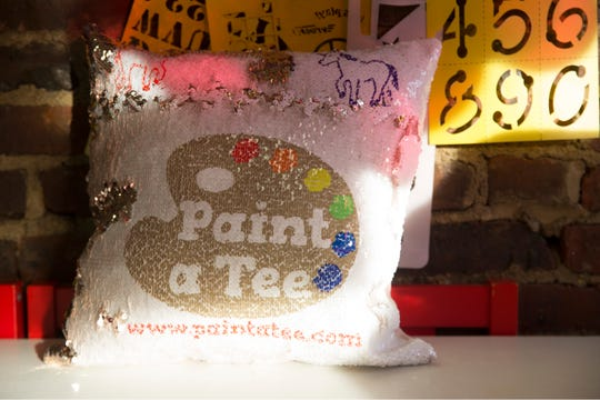 """""""Paint a Tee,"""" a six-year-old Red Bank art studio where kids and other students can make wearable artwork. Some of the products that are available at the studio.Red Bank, NJFriday, February 8, 2019"""