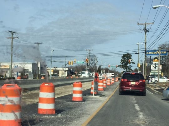 Work on Route 166 in Toms River, looking north towards Old Freehold Road