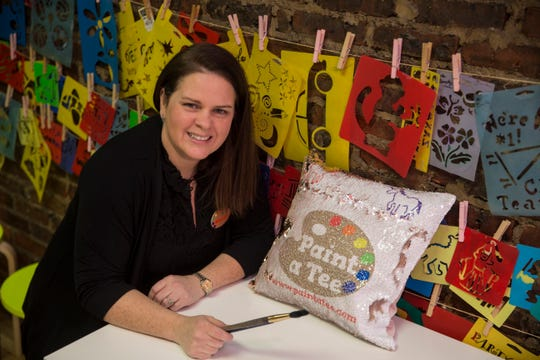 """""""Paint a Tee,"""" a six-year-old Red Bank art studio where kids and other students can make wearable artwork. Owner Marissa Clifford in her studio.Red Bank, NJFriday, February 8, 2019"""