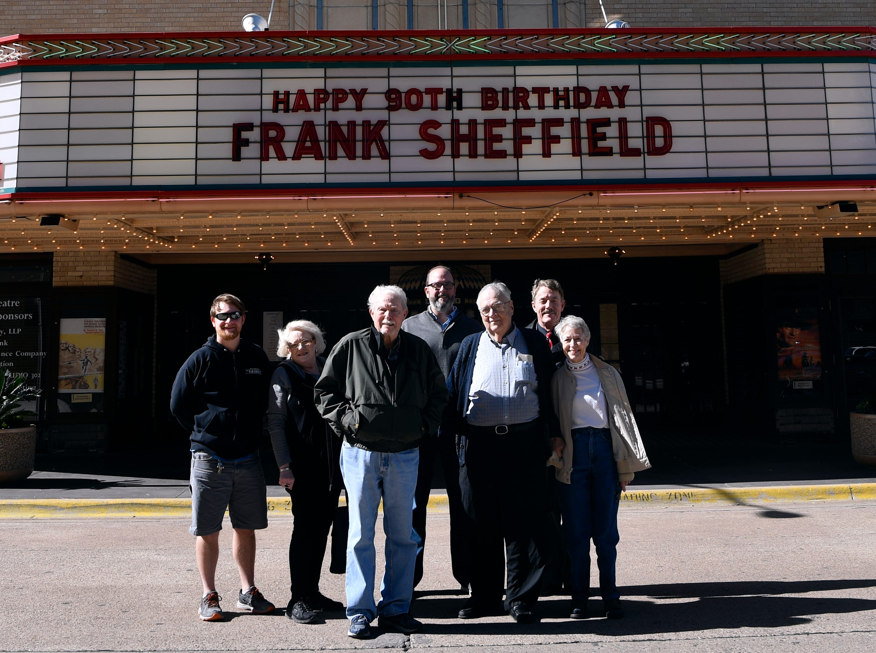 Frank Sheffield celebrates his 90th birthday with friends at the Paramount Theatre. From left: Grayson Allred, Brenda Krick, Frank Sheffield, George Levesque, Robert Holladay, Chris Carnohan and Jamie Villegas.