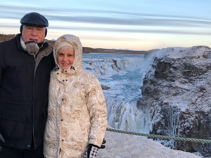 Roy and Marilyn Flournoy visit the Gullifoss waterfall while on a trip to Iceland in December.