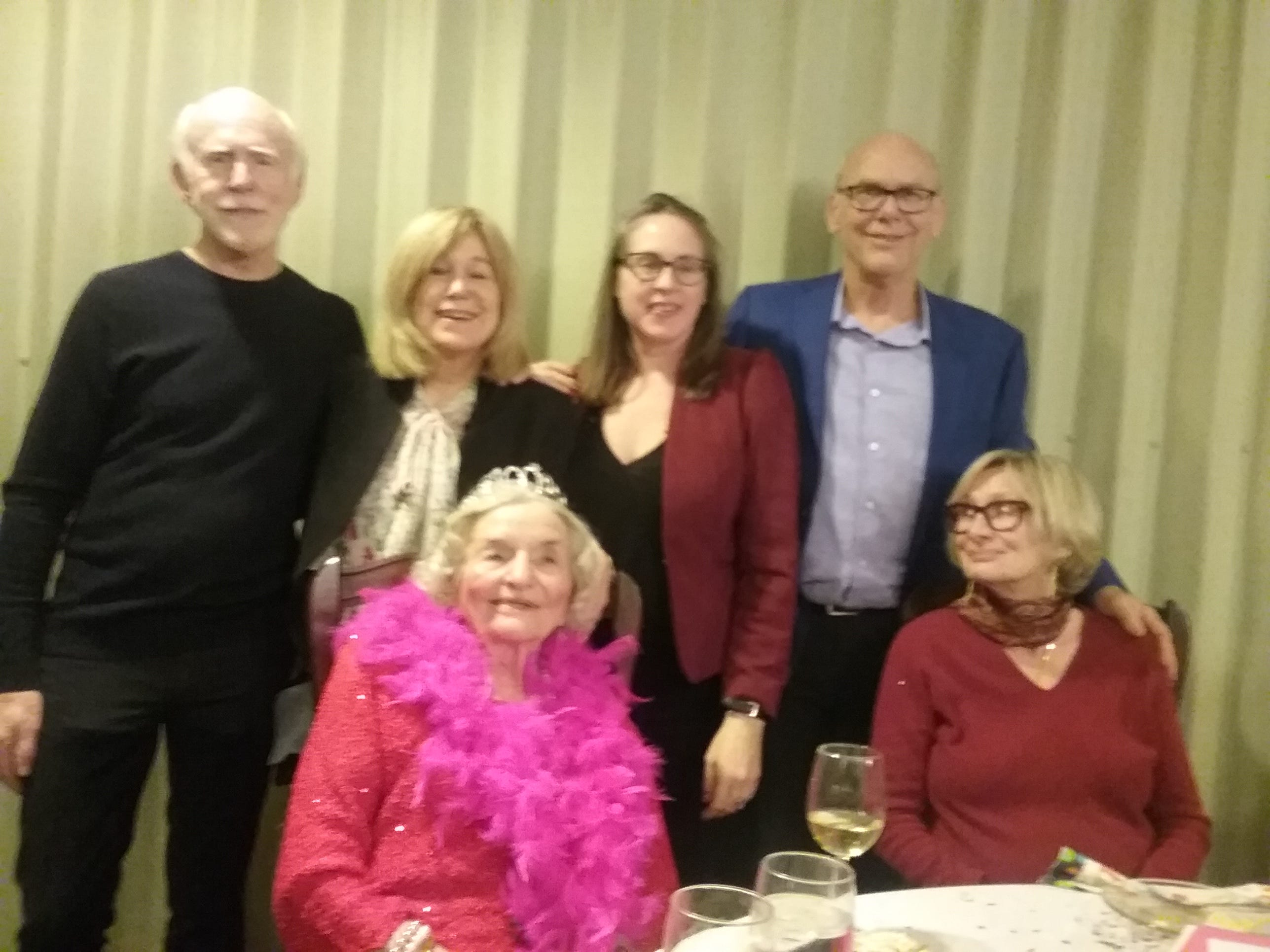 Mary Pyland (seated, at left) celebrates her 100th birthday with her friends Phil Place, Mary Kay Place, Claire Place, Ken Place and Penny Place.