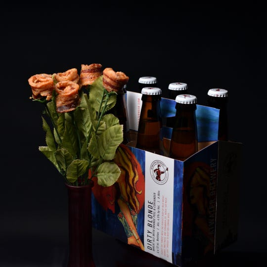 At Plumeria Botanical Boutique, customers can even order The Dirty Dozen, which is a bouquet of six bacon roses and a six-pack of beer.