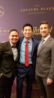"""Bobby Pontillas (left), with Taiko Studios founder Shaofu Zhang and """"One Small Step"""" director Andrew Chesworth."""