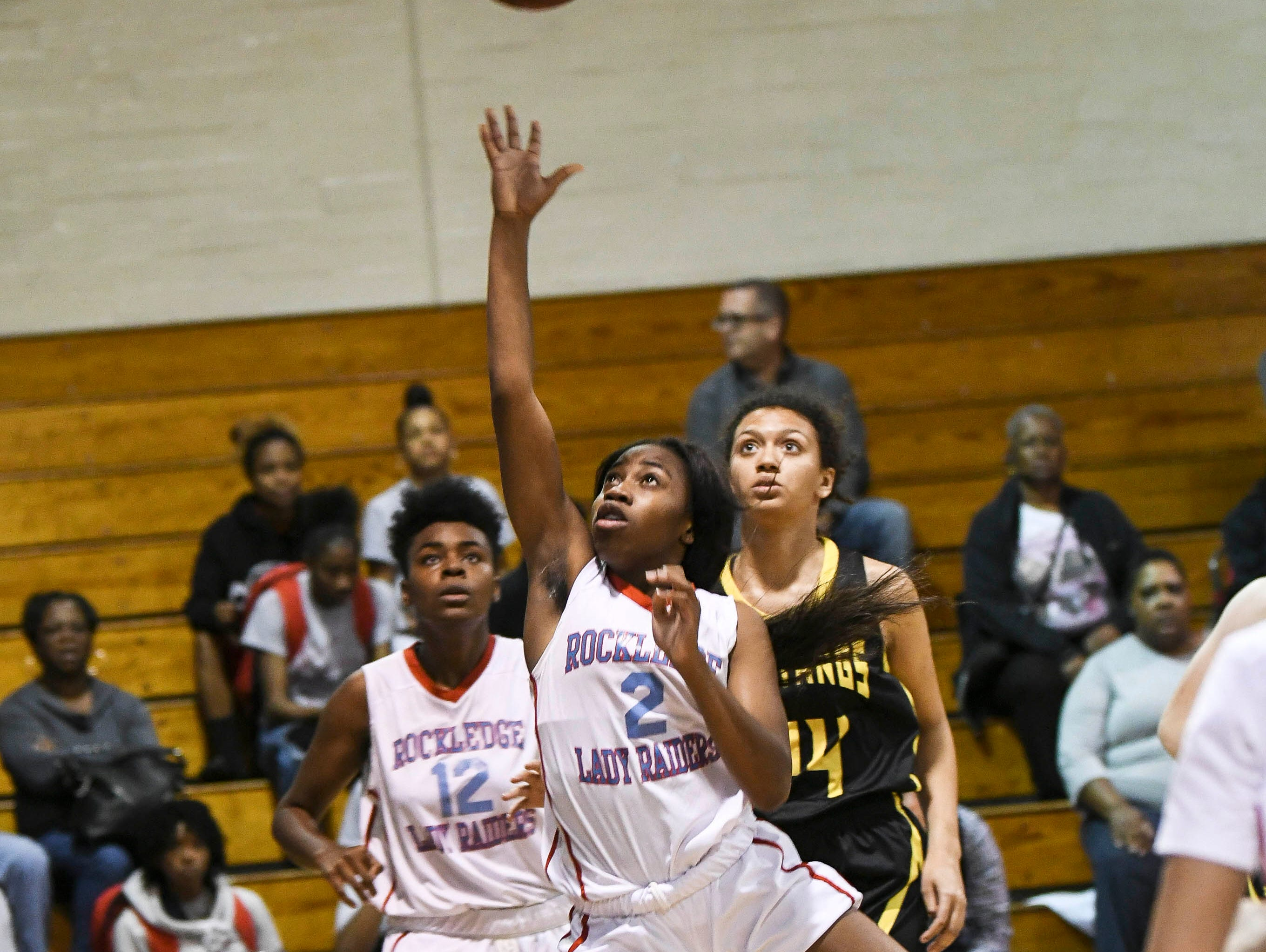 Shakara Robertson of Rockledge takes a shot during Thursday's District 14-6A basketball tournament semifinal at Rockledge High School.