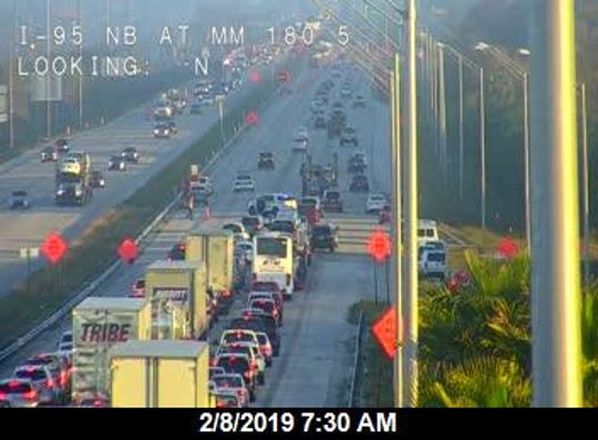 A crash on I-95 near Melbourne has all northbound lanes blocked.