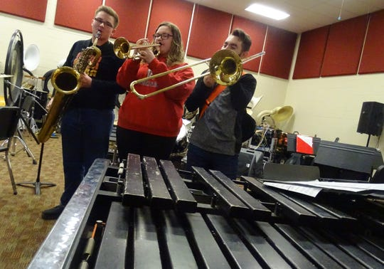 Members of the Bucyrus High School XBand who will compete in the finals of the Tri-C High School Rock Off competition at the Rock and Roll Hall of Fame on Feb. 16 include, from left, Andrew Mee, Arledia Hinkle and Jaden Deskins, all seniors. The Xband has 19 musicians.