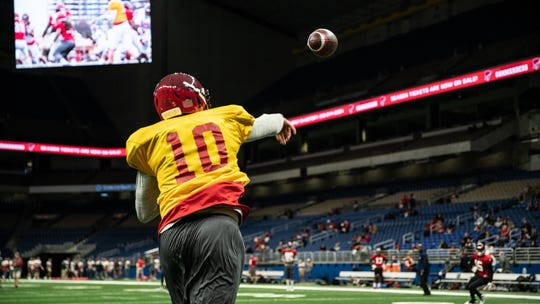 San Antonio Commanders quarterback Dustin Vaughan goes through a workout in January at the Alamodome in San Antonio. The Commanders open the season on Feb. 9.