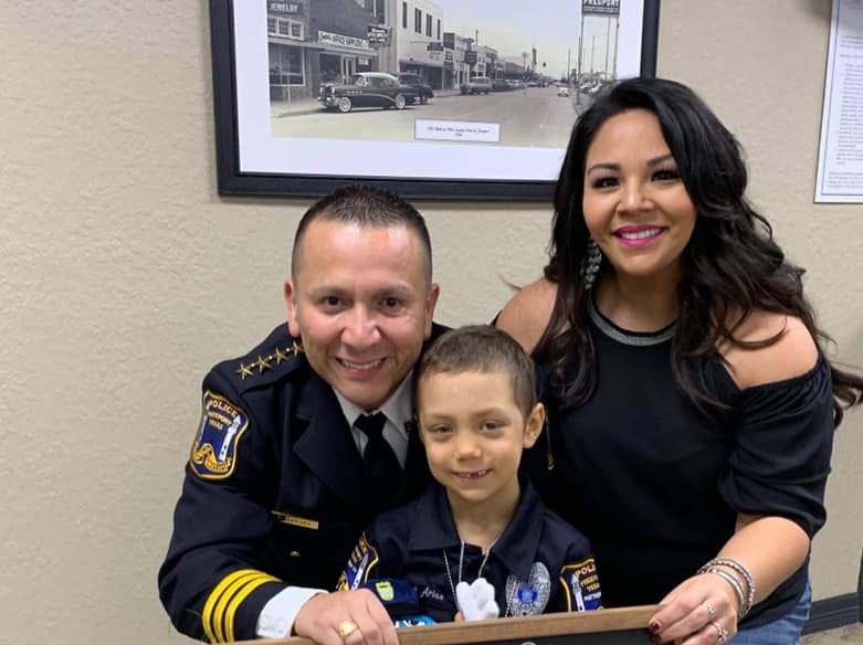 Abigail Arias was sworn in as an honorary Freeport police officer. Abigail has been battling Wilms tumor cancer for the past two years.