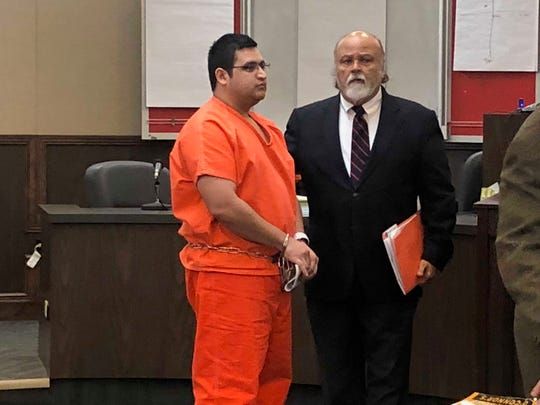 Angel Martinez appears in court on Feb. 8, 2019 for his arraignment. He's charged with murder in the death of Mark Rios.