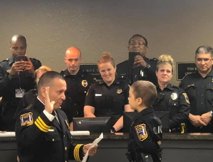 Abigail Arias is sworn in as an honorary Freeport police officer. Abigail has been battling Wilms tumor cancer for the past two years.