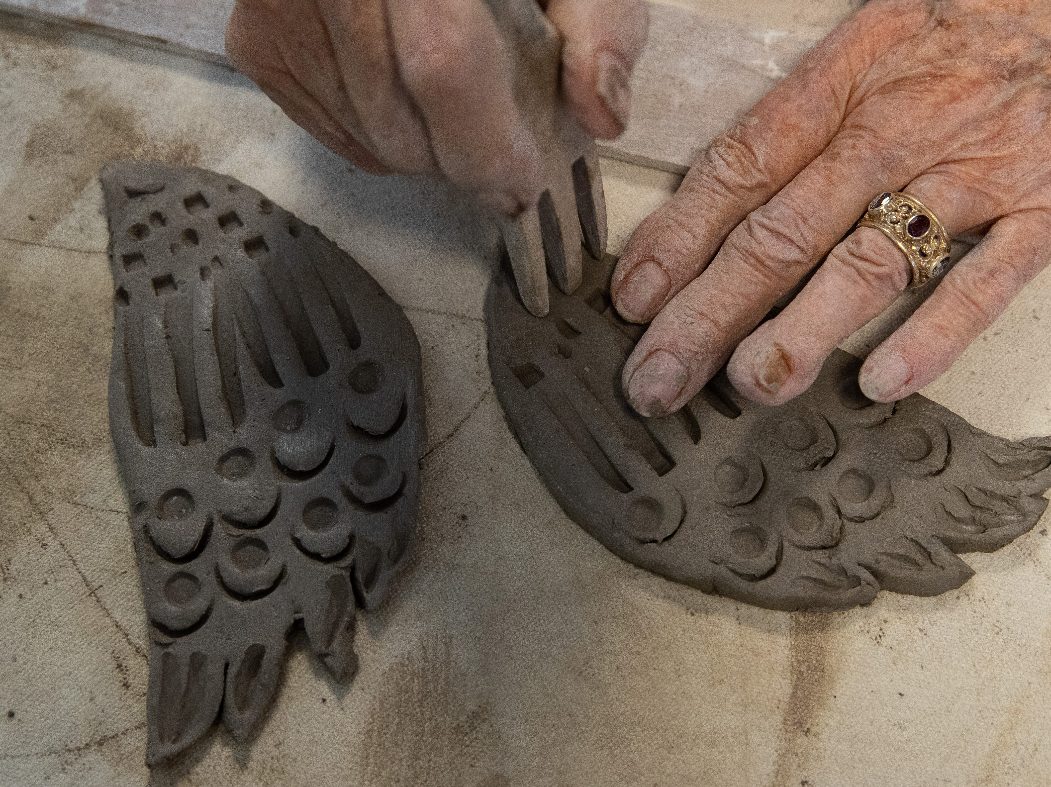 Betty Shamel works with clay at the Wind Way Gallery at 203 South Austin Street in Rockport.
