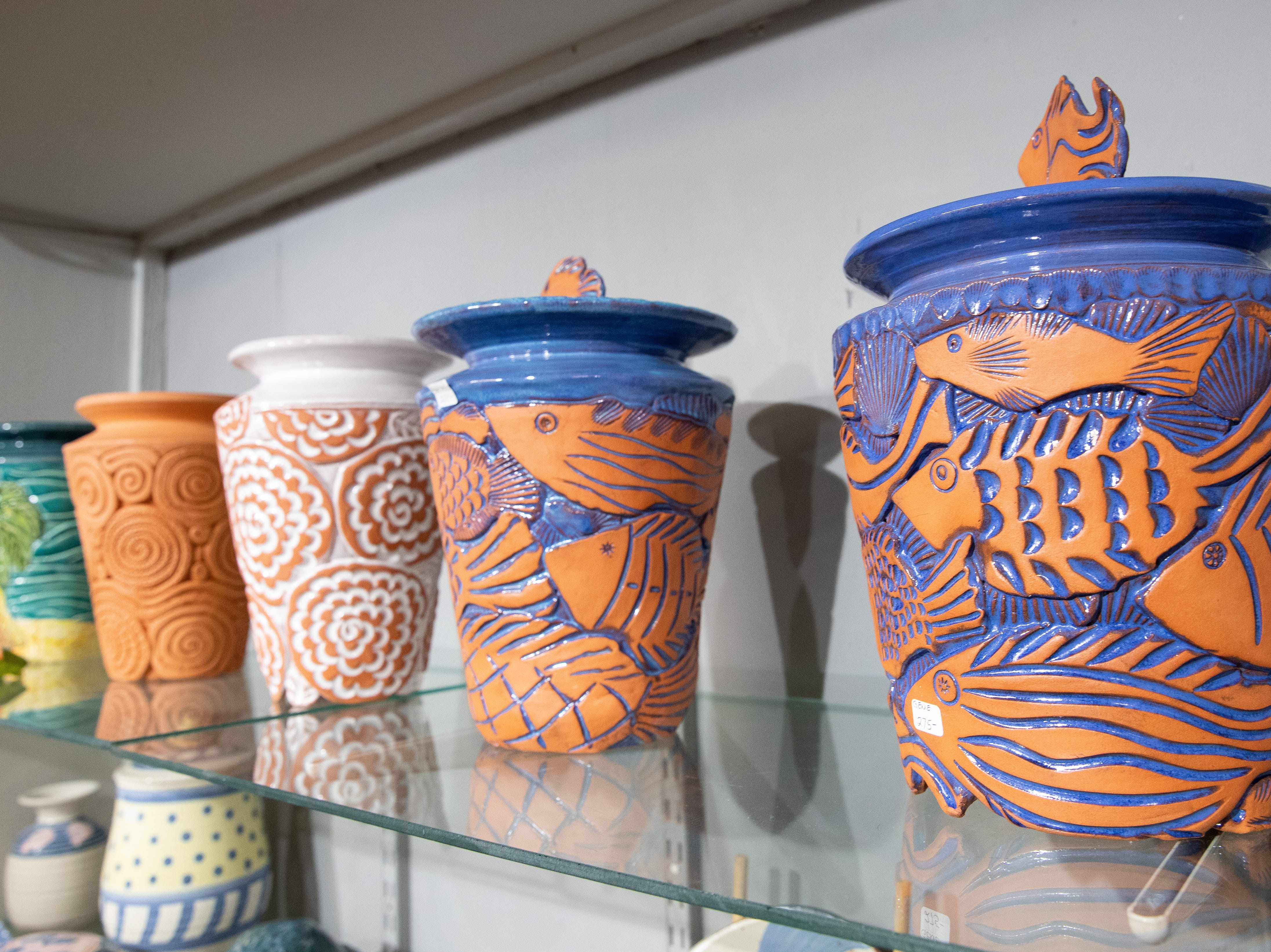 Ceramics and pottery by Genie Mysorski at the Wind Way Gallery at 203 South Austin Street in Rockport.