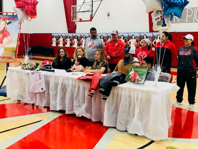 Robstown softball player Aileen Campos signed with Coastal Bend Community College on Friday. Campos was a second-team all-district selection in 2018 and plans to be a coach.