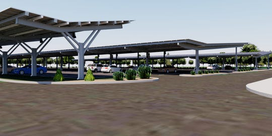 Angled canopies like these renderings awaiting installation this year by global energy company SunPower Corp. at the four largest PATCO Hi-Speedline station parking lots in South Jersey. They will better protect vehicles from weather and save energy and money because solar panels are mounted on top of the canopies.