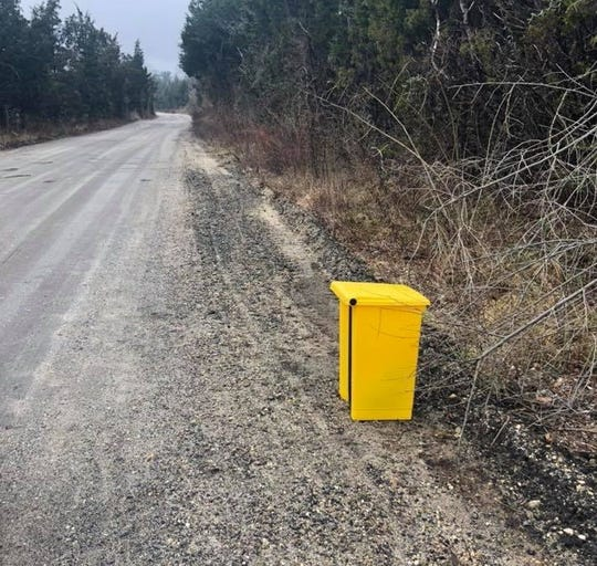 A public works employee found a dead dog inside this trashcan in Upper Township on Thursday morning. Authorities are trying to find out who left the dog there.