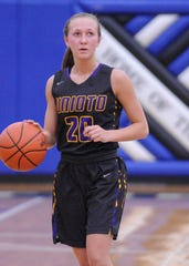 Unioto's Amber Cottrill dribbles the ball in a 47-20 win over Southeastern during the 2018-19 season.