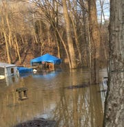 A Ross County Deputy Dog Warden rescued a dog from waist-high flood waters early Friday.