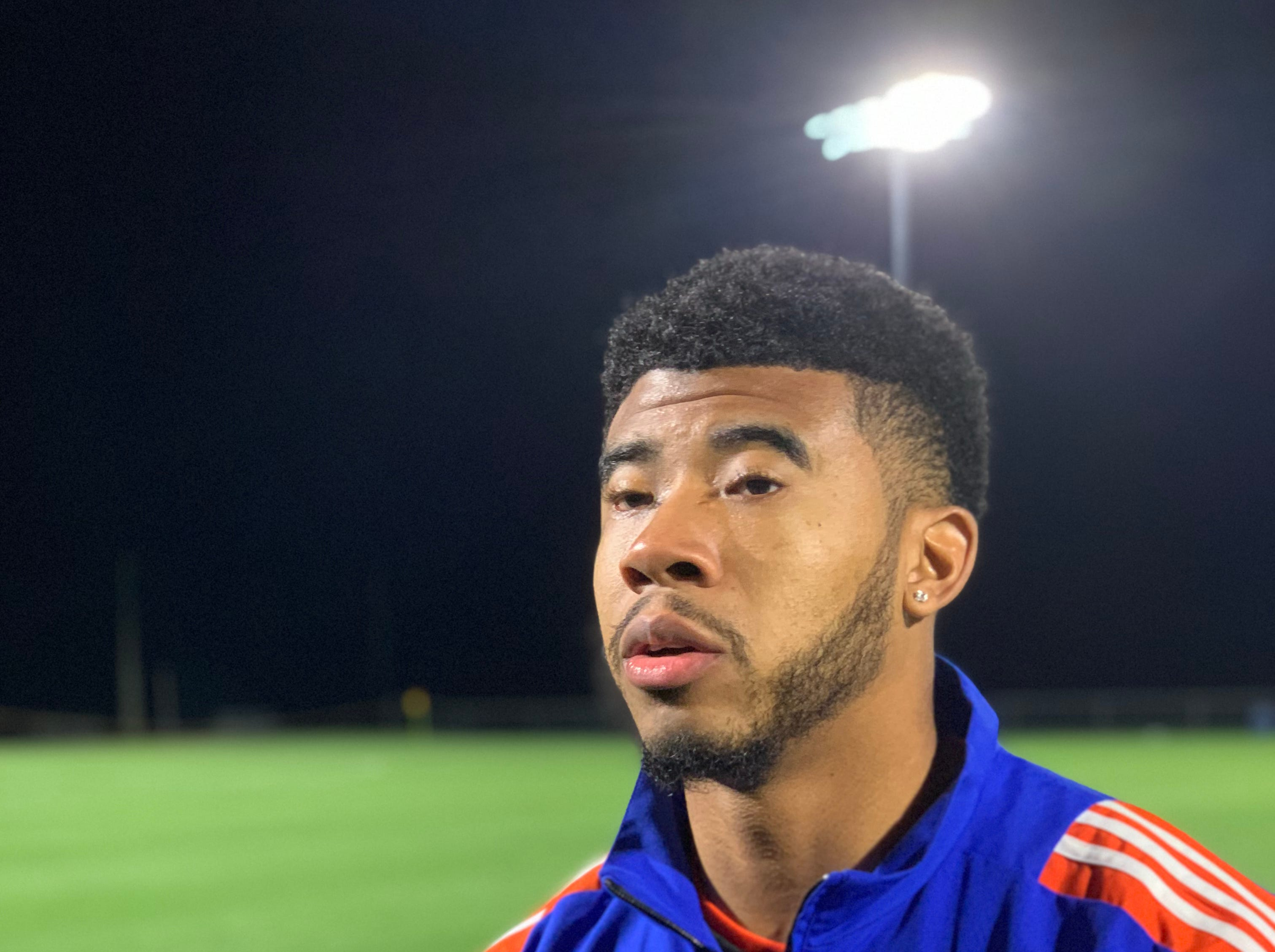 Forward Emery Welshman takes questions from the media following FC Cincinnati's 1-1 draw with the Montreal Impact on Jan. 30.