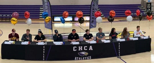 Cincinnati Hills Christian Academy seniors signed their commitments to play college athletics Feb. 6.