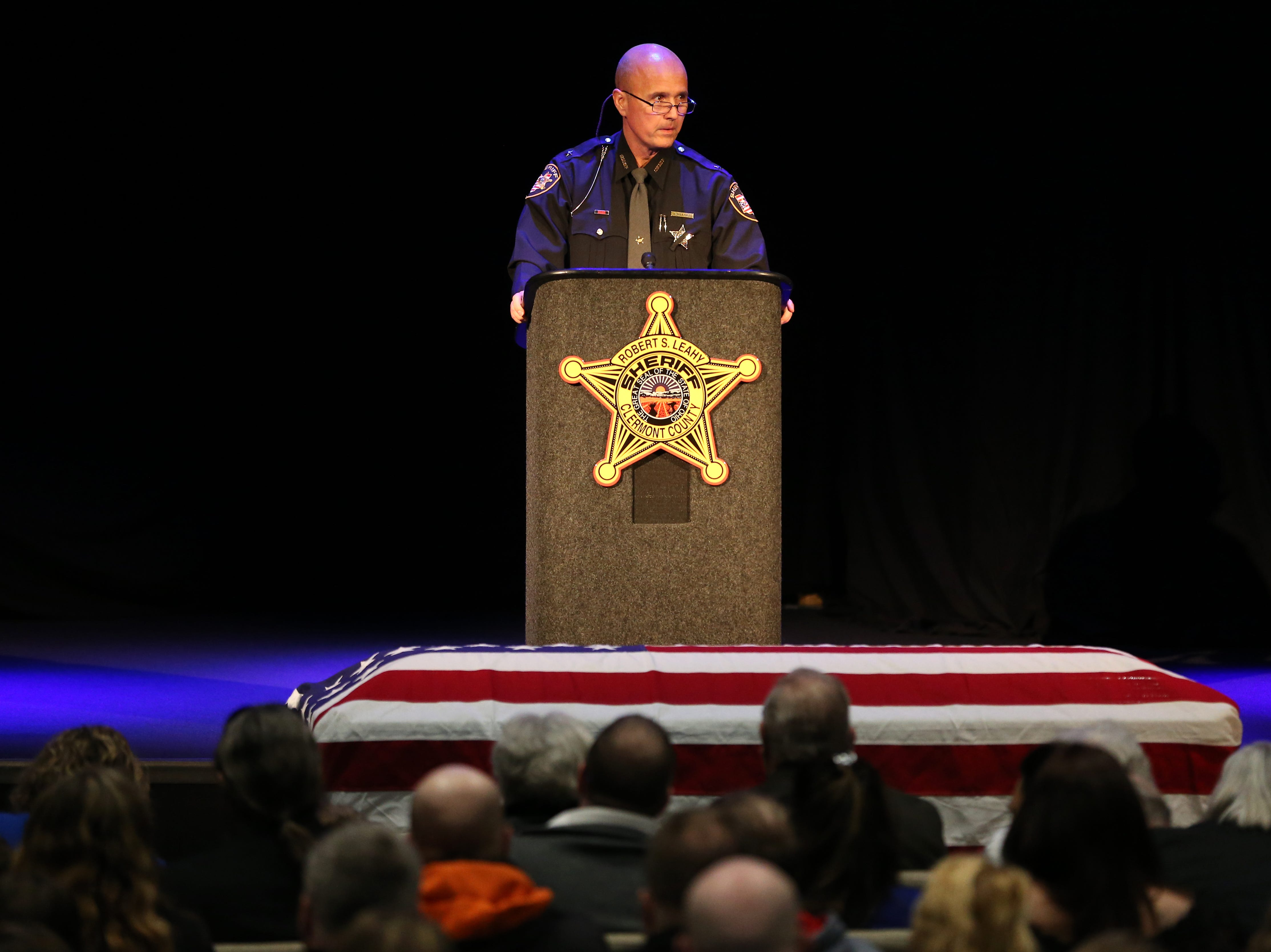 Clermont County Sheriff Robert Leahy delivers remarks during funeral services for Clermont County Sheriff's Detective William Lee Brewer Jr., Friday, Feb. 8, 2019, at Mount Carmel Christian Church in Union Township, Ohio. Brewer, a 20-year veteran of the Clermont County SheriffÕs Office, died in the line of duty. He was shot Feb. 2 during a standoff. Brewer, 42, of Pierce Township, is survived by his wife, Jamie, and a 5-year-old son, Braxton. (Kareem Elgazzar/The Cincinnati Enquirer)