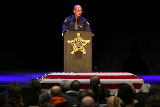 Clermont County Sheriff Robert Leahy delivers remarks for the length of funeral companies for Clermont County Sheriff's Detective William Lee Brewer Jr., Friday, Feb. eight, 2019, at Mount Carmel Christian Church in Union Township, Ohio. Brewer, a 20-twelve months ragged of the Clermont County SheriffÕs Discipline of job, died in the line of responsibility. He was as soon as shot Feb. 2 for the length of a standoff. Brewer, forty two, of Pierce Township, is survived by his accomplice, Jamie, and a 5-twelve months-feeble son, Braxton. (Kareem Elgazzar/The Cincinnati Enquirer)