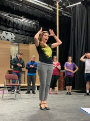 "Stephanie Mackris of Loveland, rehearsing for her role of Janet Van De Graaff in Loveland Stage Company's production of ""The Drowsy Chaperone"" which opens March 1 and runs through March 17."