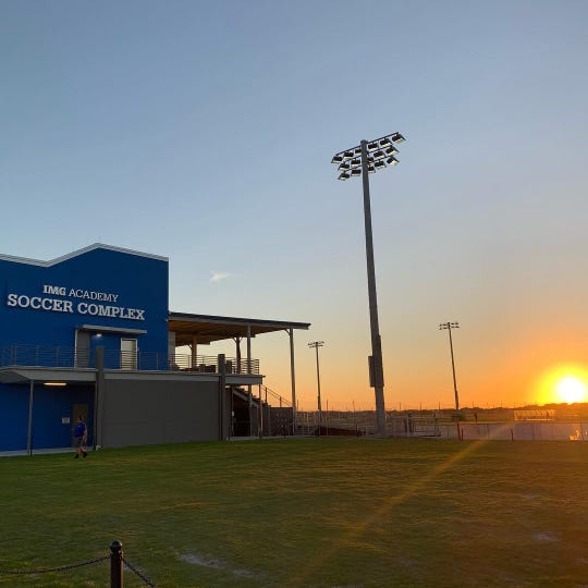 The sun sets on the IMG Academy Soccer Complex stadium Feb. 7 prior to FC Cincinnati's 1-1 draw with DC United.