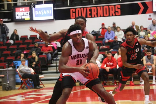 Austin Peay's Terry Taylor posts up a SIU Ewardsville defender in the second half of their OVC game Thursday at the Dunn Center.
