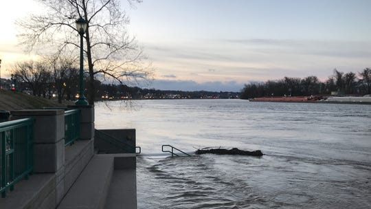 Although the Cumberland River was high and encroaching on sidewalks at McGregor Park, it is expected to crest below flood stage level on Friday.