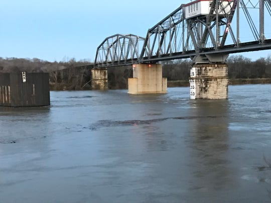 The Cumberland River was rising but expected to crest below flood stage Friday, Feb. 8, 2019.